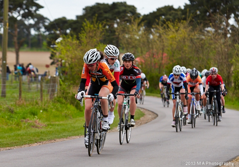 Action at the front of the race as Emma keeps the bunch in checkPhoto: Mark Huggins